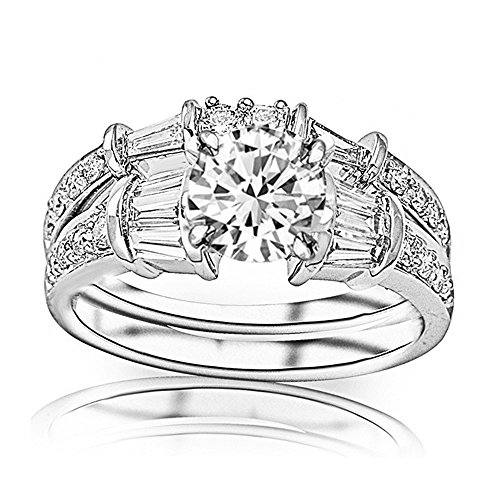 Brilliant Diamond Baguette - 1.5 Ctw Round Baguette Round 14K White Gold Diamond Engagement Ring Wedding Bridal Band Set (F-G Color SI2 Clarity 0.75 Ct Center)