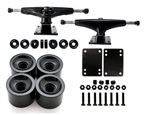 VJ Skateboard Truck and Wheel, 5.0 Skateboard Trucks (Black) w/Skateboard Crusier Wheel 60mm, Skateboard Bearings, Skateboard Screws, Skateboard Riser Pads (Black)