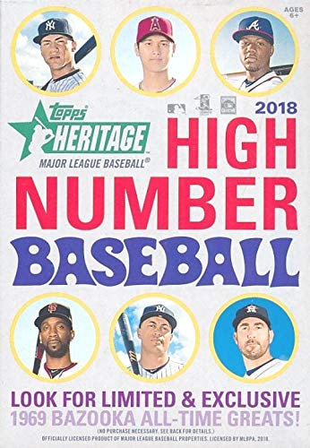 (2018 Topps Heritage High Number Baseball EXCLUSIVE Factory Sealed HANGER Box! Look for RC's & Auto's of Juan Soto, Shohei Ohtani, Gleyber Torres & More! Look for REAL ONE Blue Ink AUTOGRAPHS! WOWZZER!)