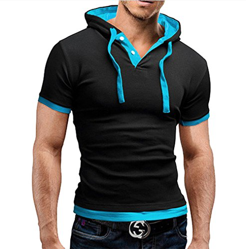 Yiwa Mens Short Sleeve Contrast Color Hoodie - North Vegas Mall Las