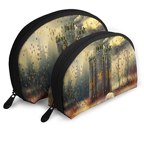 Pouch Zipper Toiletry Organizer Travel Makeup Clutch Bag Autumn Castle Portable Bags Clutch Pouch Storage Bags