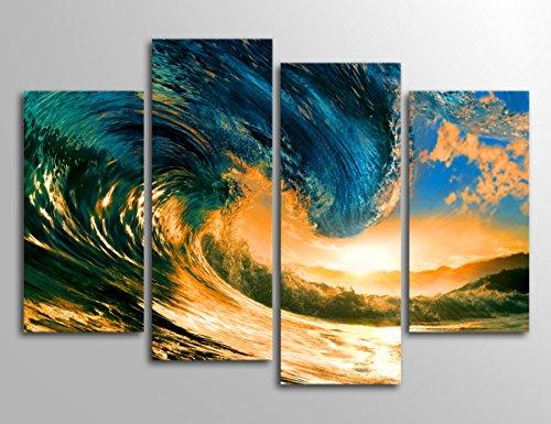 Yearainn Wall Art Canvas Prints Sunset Sea Wave Painting Print on Canvas - Summer Vacation Sea
