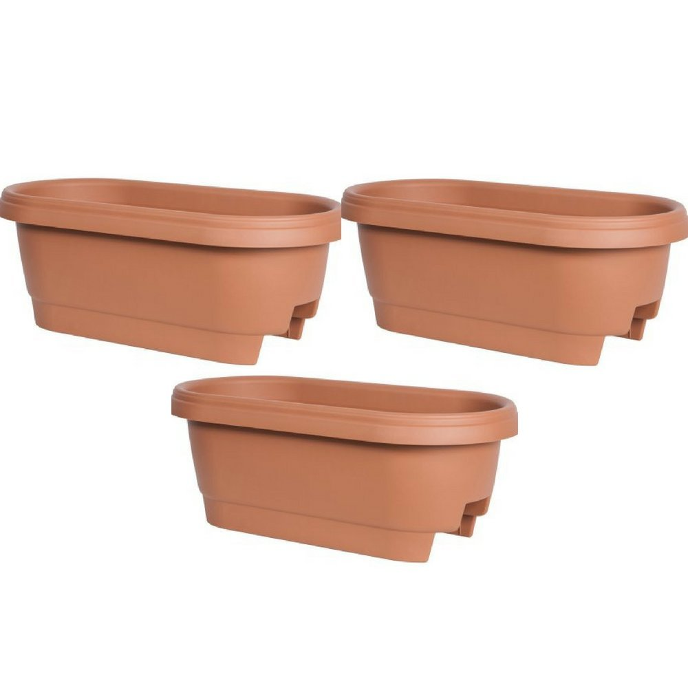 Bloem Deck Rail Planter 24 inch Terra Cotta, Pack of 3
