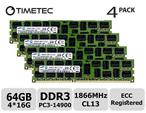 Timetec Original M393B2G70EB0-CMA 64GB KIT (4x16GB) DDR3 1866MHz PC3-14900 Registered ECC 1.5V CL13 2Rx4 Dual Rank 240 Pin RDIMM Server Memory RAM Module Upgrade (64GB KIT (4x16GB))