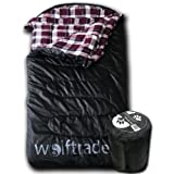 Wolftraders LoneWolf +0 Degree Premium Ripstop Oversized Sleeping Bag, Black/Purple