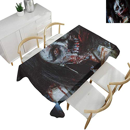 Zombie,Vintage tablecloths Scary Dead Woman with a Bloody Axe Evil Fantasy Gothic Mystery Halloween Picture Waterproof Table Cover for Kitchen Multicolor 60
