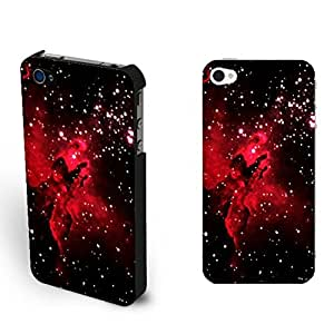 Phone Case Cool Galaxy Space Nebula Pattern Design Iphone 4 4s Case Cover Personalized Back Case Skin (Red Sparkle Space)