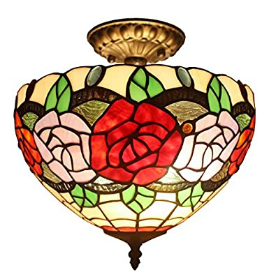 Amora Lighting AM049CL12 Tiffany Style Roses Ceiling Pendant Fixture Lamp 12 In