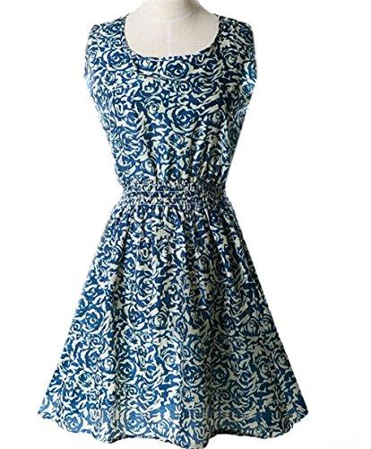 Jersey Blue Robe Manches Floral Courtes col et Robe Longues Manches Longue en en Mousseline Royal et Rond Weekendy Tfqt7