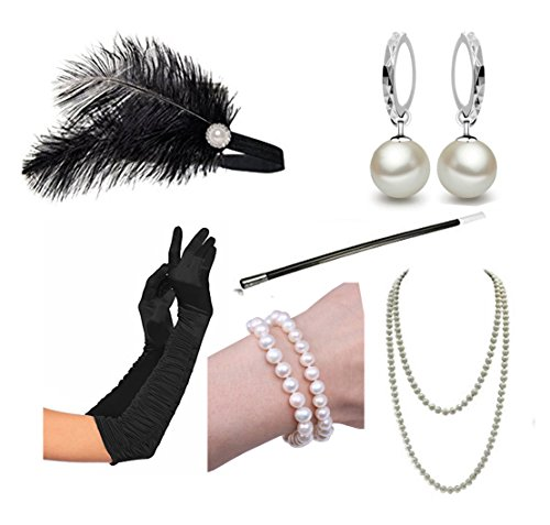 1920s Gloves (1920s Accessories Headband Necklace Gloves Cigarette Holder Flapper Costume Accessories Set for Women (EE))