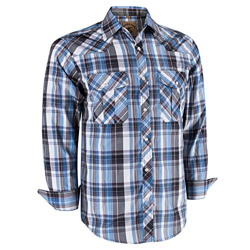 - Coevals Club Men's Long Sleeve Casual Western Plaid Snap Buttons Shirt (L, 10#White,Blue)