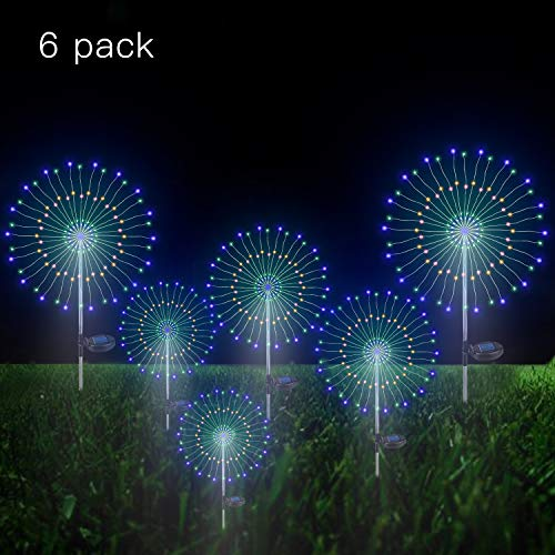 Make Your Own Outdoor Halloween Decorations (Solar Firework Light, 105 LED Multi-Color Outdoor Firework Solar Garden Decorative Lights for Walkway Pathway Backyard Decoration Parties (6)
