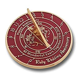 Wedding Anniversary Sundial Gift | Unique Present Idea For 1st, 10, 15, 20, 25, 30, 35, 40, 45, 50, 55 Or 60 Yr Anniversary For Him, For Her Or For A Couple. (40th - Ruby Version)