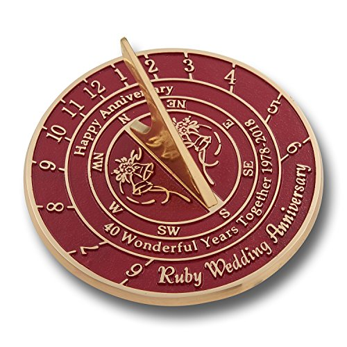 Looking For The Best 40th Ruby Wedding Anniversary Gift? This Unique Sundial Gift Idea Is A Great Present For Him, For Her Or For A Couple To Celebrate 40 Years Of Marriage