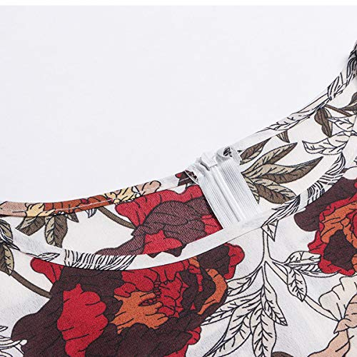 Larga White Con Camisa Estampado En Espalda Manga Dobladillo Irregular La cuello Cremallera Mujer De Blusa O Para Floral 6TwTdq