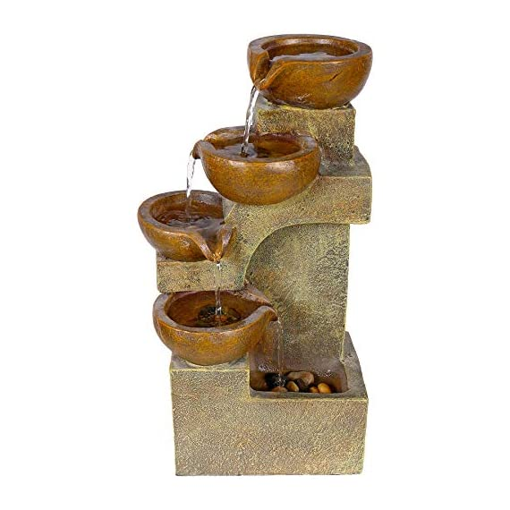 Alpine Corporation 4-Tier Pouring Pots Fountain - Tabletop Indoor/Outdoor Water Fountain for Yard, Patio, Garden - Brown - Make sure this fits                by entering your model number. POURING POTS FOUNTAIN: Outdoor fountain is the perfect addition to your decor. Interior pump keeps the water flowing - just plug it in! RELAXING WATER FLOW: Water trickles down through pots to mimic the sounds of a real waterfall, adding peaceful ambiance to your home or yard - patio, outdoor-decor, fountains - 51KE71ZCJlL. SS570  -