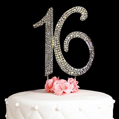 Hatcher Lee 16 Decoración para tarta para 16 años cumpleaños o 16º aniversario de boda oro vidrio Rhinestone decoración...