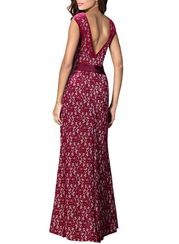 Miusol Long Lace Backless Sleeveless Evening Party Ball Gown Wedding Bridesmaid Dress