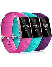 Dirrelo 3 Pack Bandjes Compatibel met Fitbit Charge 3/Fitbit Charge 4 voor Dames en Heren, Zachte Siliconen Verstelbare Vervangende Sportarmband voor Fitbit Charge 3 SE, Klein Groot, Meerdere Kleuren