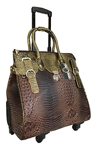 Trendy Flyer Computer/laptop Large Bag Tote Duffel Rolling 4 Wheel Spinner Luggage Bronze Croc by Trendy Flyer
