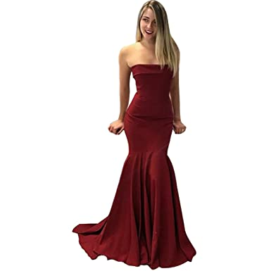 TANGFUTI Womens Mermaid Formal Evening Dresses Long Prom Gowns US2 Red