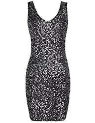 Women's Deep V-Neck Stretchy Sequin Mini Dress