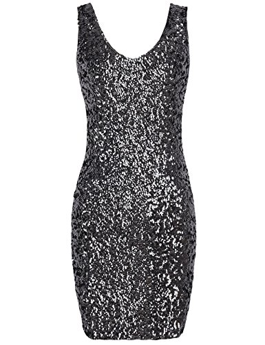 PrettyGuide Women Sexy Deep V Neck Sequin Glitter Bodycon Stretchy Mini Party Dress Black M -