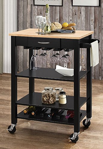 Major-Q 9098325 Natural and Black Finish Wheeled Kitchen Island Cart with Drawer, Open Storage, Wine Bottle Rack, and Shelves