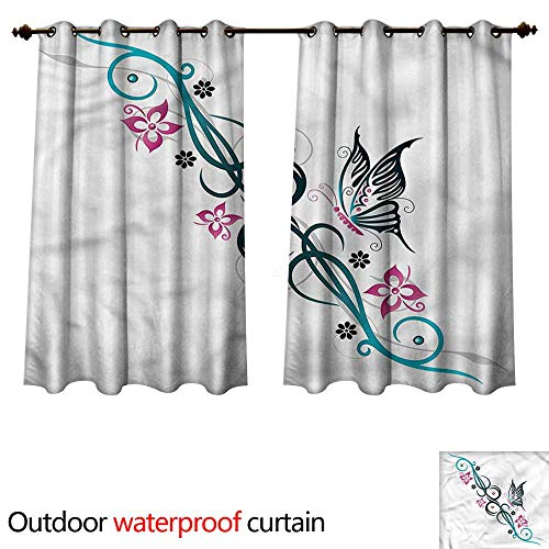 cobeDecor Tattoo 0utdoor Curtains for Patio Waterproof Tribal Butterfly and Flowers W108 x L72(274cm x 183cm)