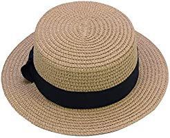 Sandy Ting Straw Hats Kids Boys Girls Skimmer Hat Sun Beach Panama Hat
