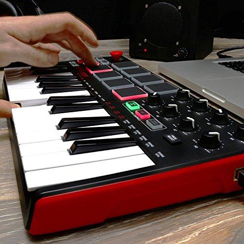 Akai Professional MPK MINI MK2 MKII | 25-Key Ultra-Portable USB MIDI Drum Pad & Keyboard Controller (Red/Black)+ 4-Port…