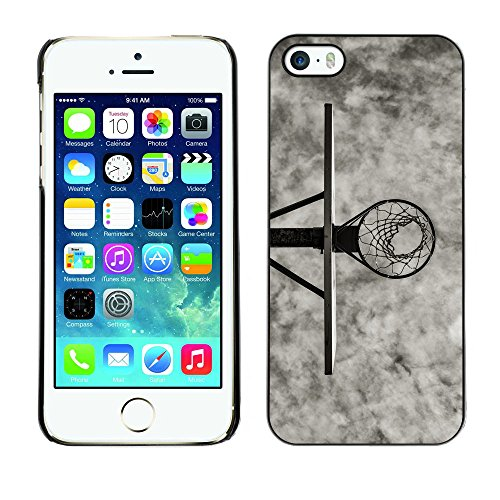 Slim Hard Snap-On Design Case Cover Shell Skin Pouch for Apple iPhone 5 / 5S - B&W Basketball Hoop Court