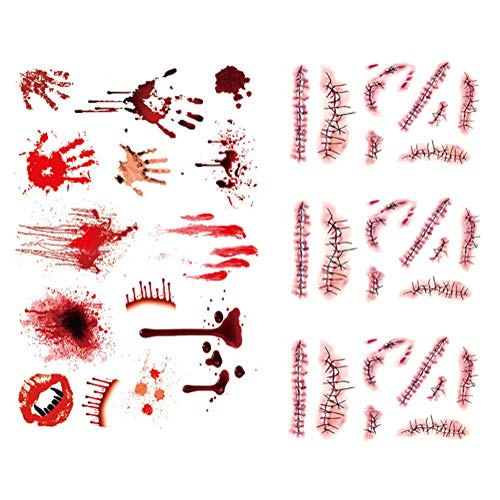 Alila Halloween Horror Tattoos - Waterproof Realistic Fake Bloody Wound Stitch Scar Scab Temporary Tattoo Sticker Halloween Masquerade Prank Makeup (Pack of 4) -