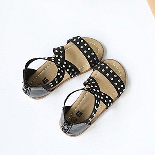 Scothen Niñas strappy sandalias zapatos de verano zapatos casuales zapatos de las sandalias de playa sandalias sandalias romanas los niños zapatos princesa del flip-flop los zapatos la bailarina Black