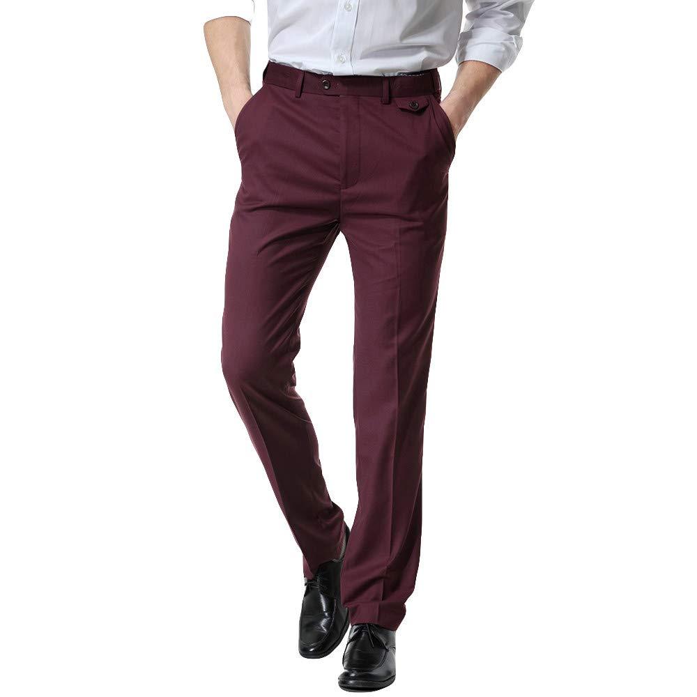 Creazrise Men's Flat Front Slim Fit Straight-Leg Casual Trouser Pants (Wine,XL)