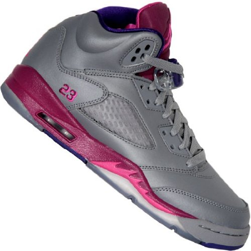 (Nike KidsGirls Air Jordan Retro 5 440892 009 Cement Grey Pink Foil Raspberry Red (kids 6.5, Cement Grey Pink Foil Raspberry Red))