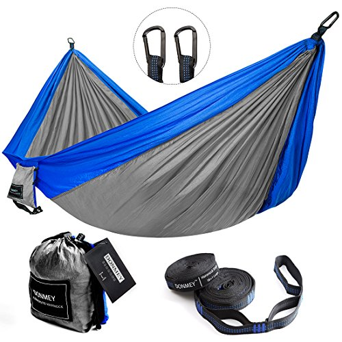 DONMEY Single & Double Parachute Camping Hammock with Tree Straps - Lightweight Portable Nylon Hammocks for Travel, Backpacking, Hiking, Beach, Yard Blue/Grey, 78 W x 118 L