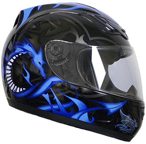 Rallox Helmets Integralhelm 510-3 schwarz/blau RALLOX Motorrad Roller Sturz Helm ( XS, S, M, L, XL ) Größe L