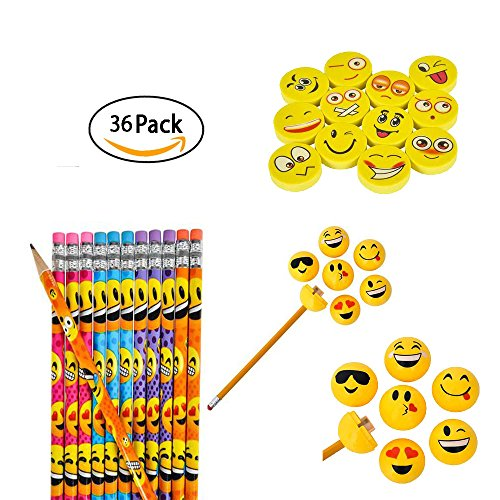 Emoji Party Pencil Eraser And Sharpener 36-Piece