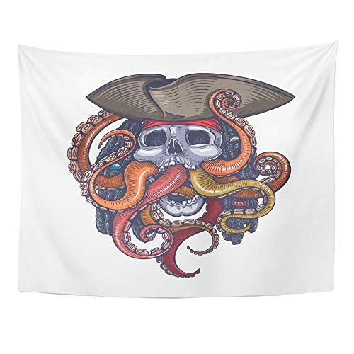 Emvency Tapestry Polyester Fabric Print Home Decor Octopus Color Skull Pirate Tattoo Scary Sea Halloween Cool Diver Vintage Wall Hanging Tapestry for Living Room Bedroom Dorm 60x80 Inches