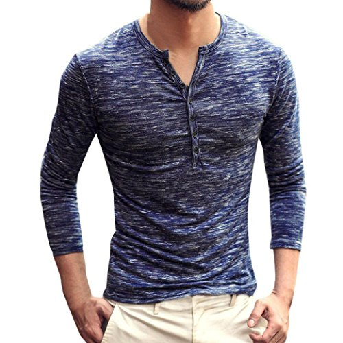 iYYVV Men Button Down Henry T-Shirt Autumn Casual Long Sleeve Collar Slim Top Blouse -