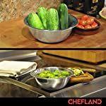 ChefLand Set of 6 Standard Weight Mixing Bowls, Stainless Steel, Mirror Finish, 0.75, 1.5, 3, 4, 5, and 8 Qt. (Mixing Bowl Set Of 6) 12 SET OF 6 ESSENTIAL SIZES - 0.75, 1.5, 3, 4, 5, and 8 Quart bowls ideal for whisking, mixing, marinating and serving. Prepare a light garnish or chop a colorful, healthy salad into the bowl of your choice and enjoy a sleek transition straight from the kitchen counter to charming serving. COMPACT STORAGE CAPABILITY - Who has space in their cupboards for loose bowls rolling around? ChefLand makes your life that bit more simple with these six, stackable, bowls that are easy to store and organize. With a lightweight, sleek and easy to use design, these bowls really do administer a professional result. STYLISH YET ROBUST - Designed with durable 18/8 stainless steel construction and finished with a reflective, mirrored exterior these bowls ensure both attractive presentation and high quality strength. A flat sturdy base and curved lip will optimize function, for a safe and sturdy mix or blend. ChefLand metal mixing bowls are rugged enough to stand up to everyday use without suffering any undue damage or wear and tear. Prepare and serve your dishes with pride, pleasure and confidence... Why not?