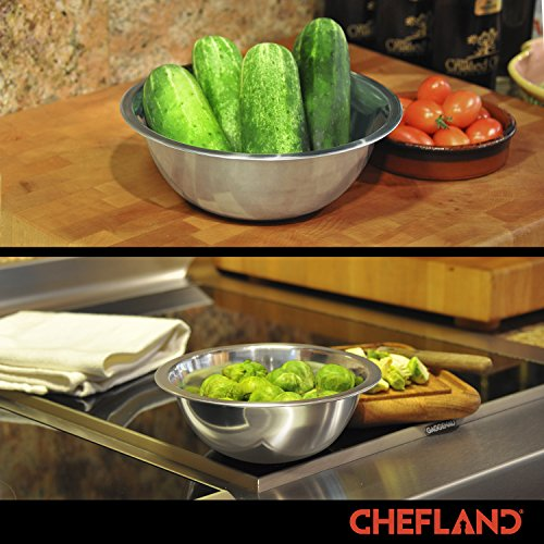 ChefLand Set of 6 Standard Weight Mixing Bowls, Stainless Steel, Mirror Finish, 0.75, 1.5, 3, 4, 5, and 8 Qt. (Mixing Bowl Set Of 6) by ChefLand (Image #4)