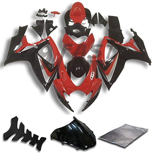 9FastMoto Fairings for suzuki 2006 2007 GSX-R600 GSX-R750 K6 06 07 GSXR 600 750 K6 Motorcycle Fairing Kit ABS Injection Set Sportbike Cowls Panels (Red & Black) S0787