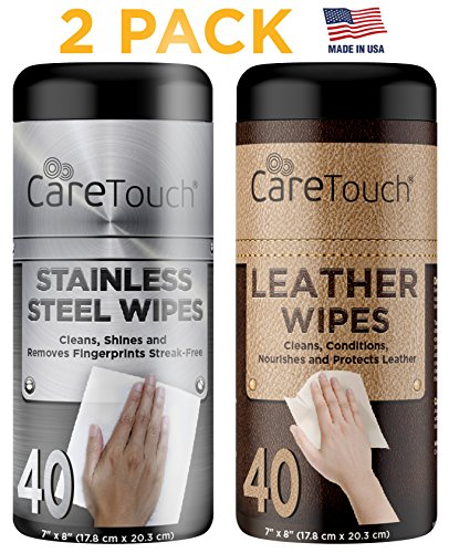 Leather Wipes (Care Touch Stainless Steel Wipes & Leather Wipes for One-Step Cleaning, Shining, Conditioning, and Protecting, 2 Pack, 40 Wipes Each)