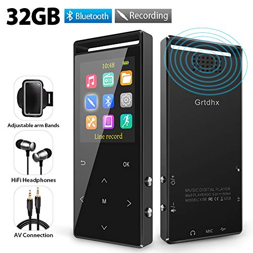 MP3 Player, 32GB MP3 Player with Bluetooth, Hi-Fi Lossless Sound Music Player with FM Radio, Voice Recorder, Pedometer, Expandable up to 128GB TF Card, with Armband and Earphone, Black ()