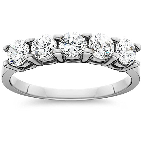 - 1ct Five Stone Genuine Round Diamond Wedding Anniversary Ring 14K White Gold