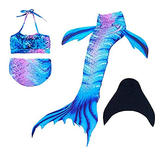 (DOTOFIN Mermaid Tails, Swimsuit with Fin, Swimming Costume, Swimwear with Monofin, Girls Swimmable Mermaid Tail Swimsuit)