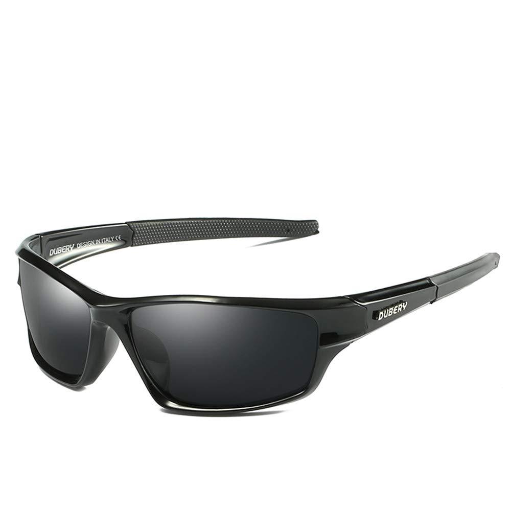 DUBERY Polarized Sunglasses for Men Women 2019 New Fashion Square Vintage Sun Glasses Sport Driving Retro Mirror Luxury Brand (7-BRIGHT BLACK/BLACK) by DUBERY