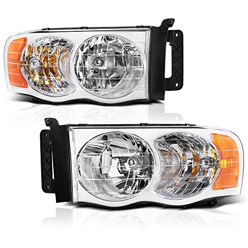 VIPMOTOZ Chrome Housing OE-Style Headlight Headlamp Assembly For 2002-2005 Dodge RAM 1500 2500 3500 Pickup Truck, Driver & Passenger ()